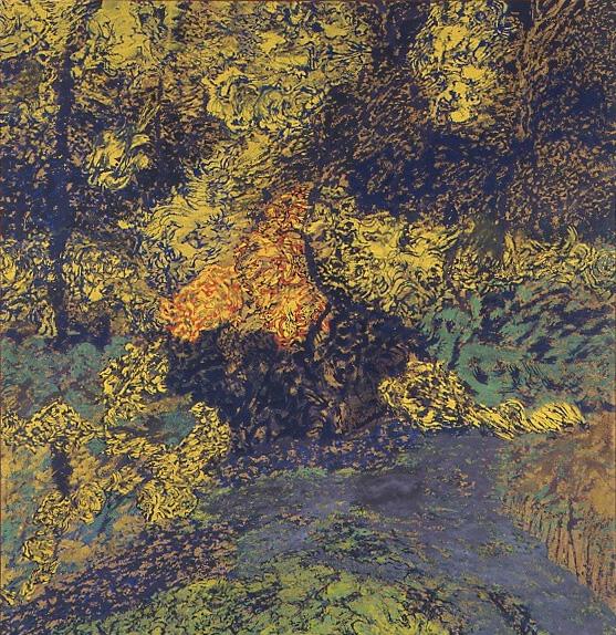 Thème : Paysage. Toile de Raymond Humbert. 2x2m Photo Archives du Musée des Arts populaires de Laduz